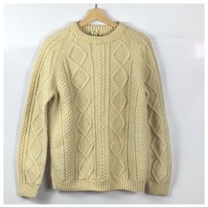Irish Wool Cable Knit Sweater Unisex Men's Small